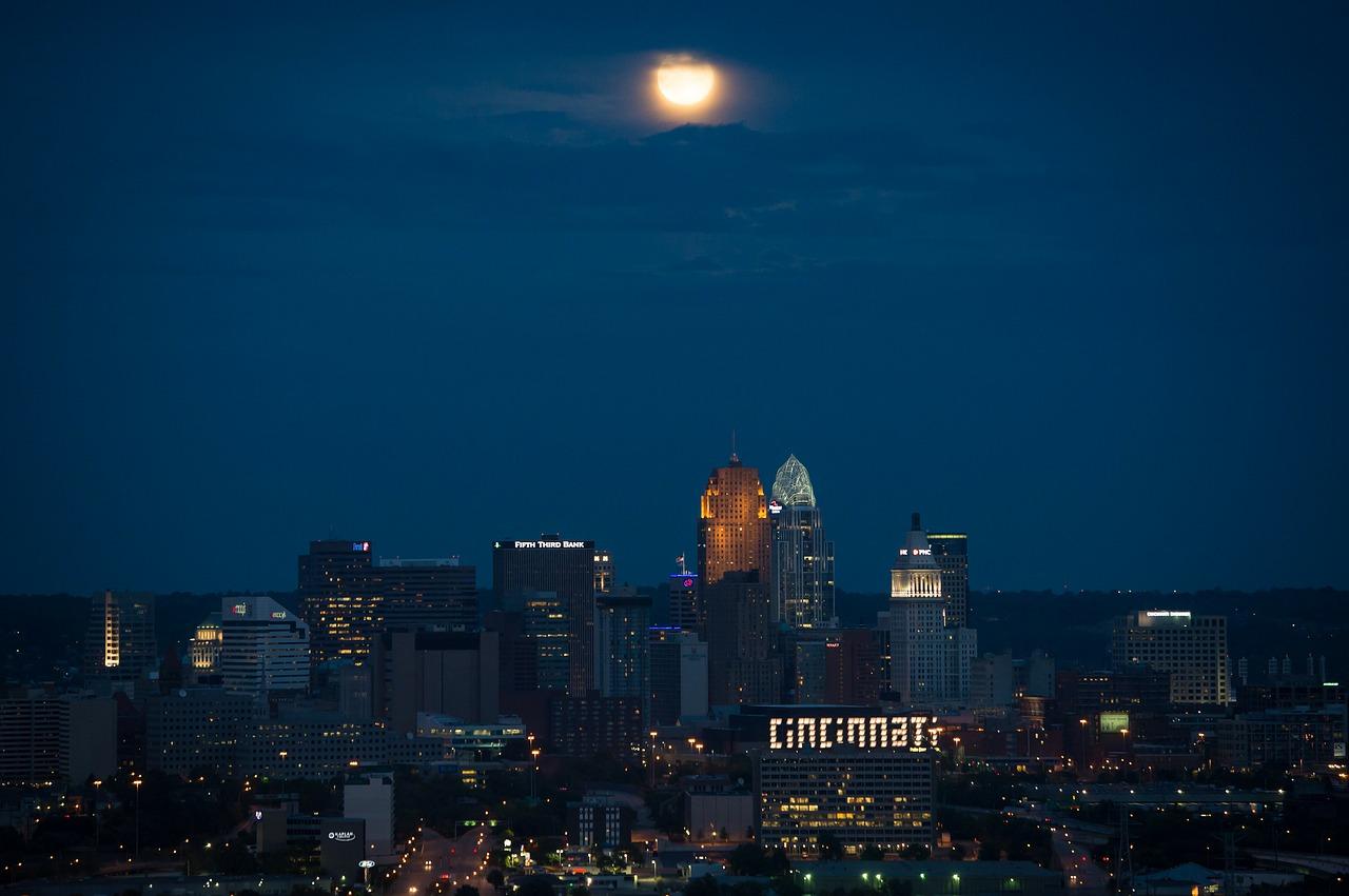 Downtown Cincinnati At Night With Moon Overhead